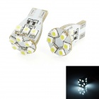T10 2W 330lm 12x1210 SMD LED White Light Decode Car Tail / Reading / Steering Lamps (2 PCS)