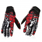 Scoyco Sporty Full-Finger Motorcycle Gloves - Black + White + Red (Pair / L Size)