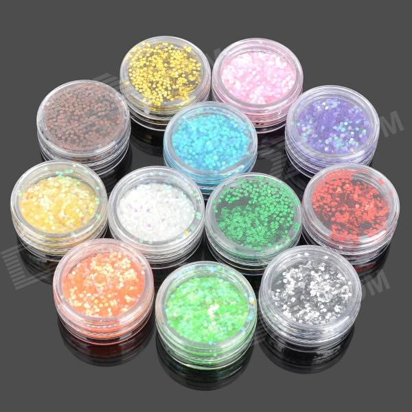 12-Color Nail Art Sequins Set