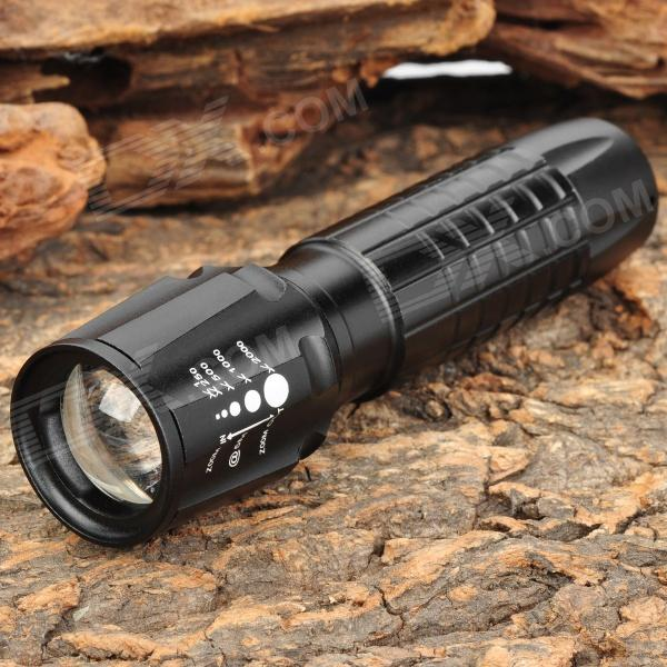 NEW-A11 235LM 3-Mode White Light Zoom Flashlight - Black (1 x 18650)