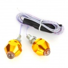 Bullet Style 1W 8lm Colorful Light Lighting / Decoration PP Lamp for Motorcycle - Yellow (2 PCS)