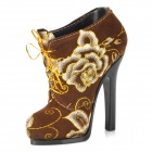 Novelty Flower Pattern High-heeled Shoe Pen Holder - Brown