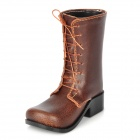 Novelty Gift Desktop Decoration PU Leather Boot Shoe Pen Holder - Brown