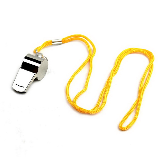 Metal Sports Referee Whistle w/ Neck Strap - Silver