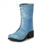 Novelty Gift Desktop Decoration Jeans Boot Shoe Pen Holder - Blue