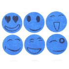 Cute Smile Faces Pattern Plastic Insert Paste - Deep Blue (6 PCS)