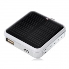 Portable 2200mAh Solar Powered Emergency Battery Pack w/ Micro USB / USB - White