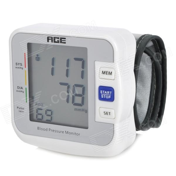 AGE BW-601 2.2 LCD Auto Wrist Blood Pressure Pulse Meter - White + Grey (2 x AAA) x lander x pulse