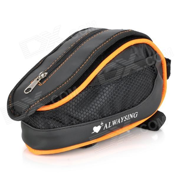 Bike Bicycle Cycling Frame Pannier Front Tube Bag Pouch w/ Rain Cover - Black + Orange
