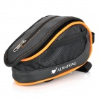 Bike Bicycle Cycling Frame Pannier Front Tube Saddle Bag Pouch w/ Rain Cover - Black + Orange