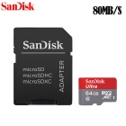 Genuine SanDisk Micro SDXC / TF Memory Card w/ SD Card Adapter - Grey + Red (64GB / Class 10)