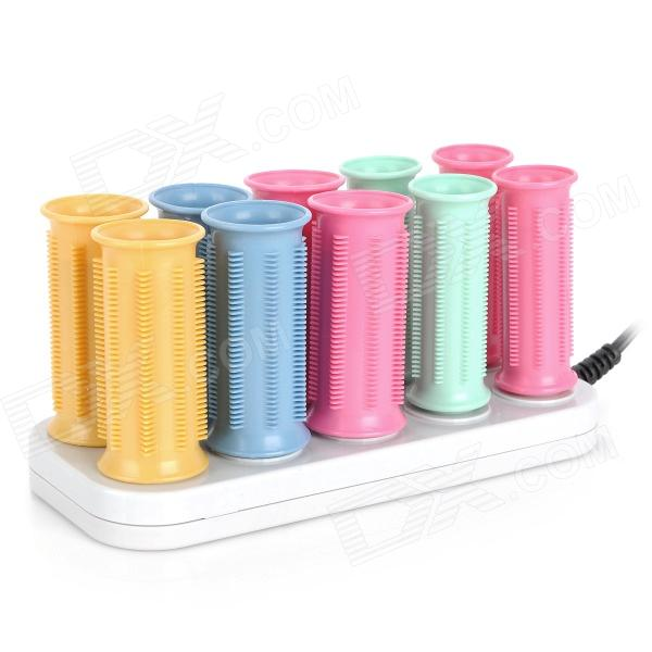 Jianwang JF888-10 Ceramic Electric Hair Curler Roller (2-Flat-Pin Plug / 220V) - DXHair Curler<br>Brand: Jianwang - Model: JF888-10 - Color: Pink + blue + green + yellow + grey - Material: Tourmaline Ceramic - Power: 220V - Power plug: 2-Flat pin plug - With power indicator - Not harmful to your hair - Fast hair styling 5 minutes is OK - Please use clip to get the roller when heated - Cant washed by water please use dry towel to clean the surface - Great for curling hair at home or travel use - Packing list: - 4 x Small rollers - 6 x Big rollers - 1 x Stand (100cm) - 10 x Clips - 1 x Chinese / English user manual<br>