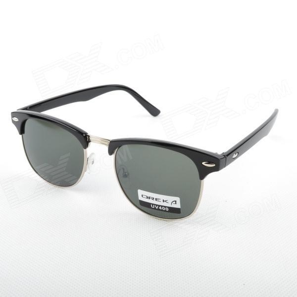 Oreka Street Retro Style Resin Lens Sunglasses - Black + Blackish Green
