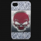 Cool Skull Pattern Protective ABS Back Case for iPhone 4 / 4S - Red + White + Grey