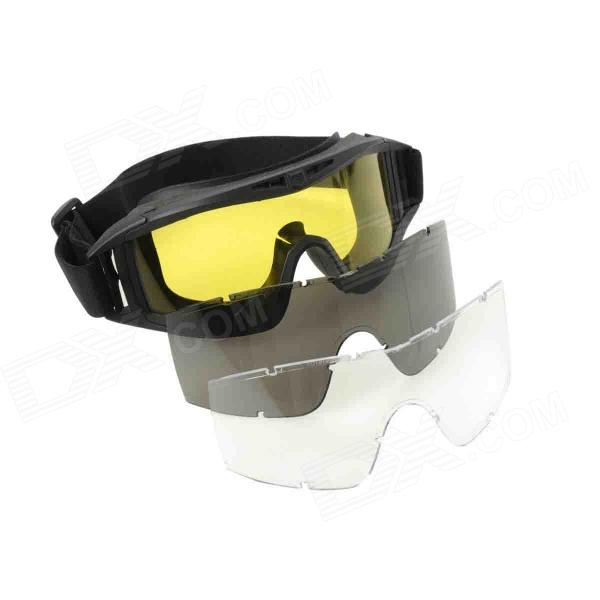 Stylish Outdoor Riding Eye Protection Glasses Goggle - Black + Yellow stylish outdoor riding pc lens eye protection glasses goggle size l