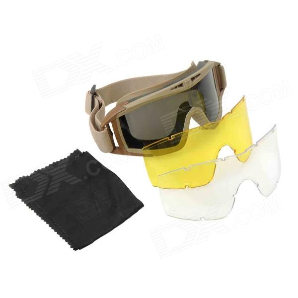 Stylish Outdoor Riding Eye Protection Glasses Goggle - Brown + Black + Yellow stylish outdoor riding pc lens eye protection glasses goggle size l