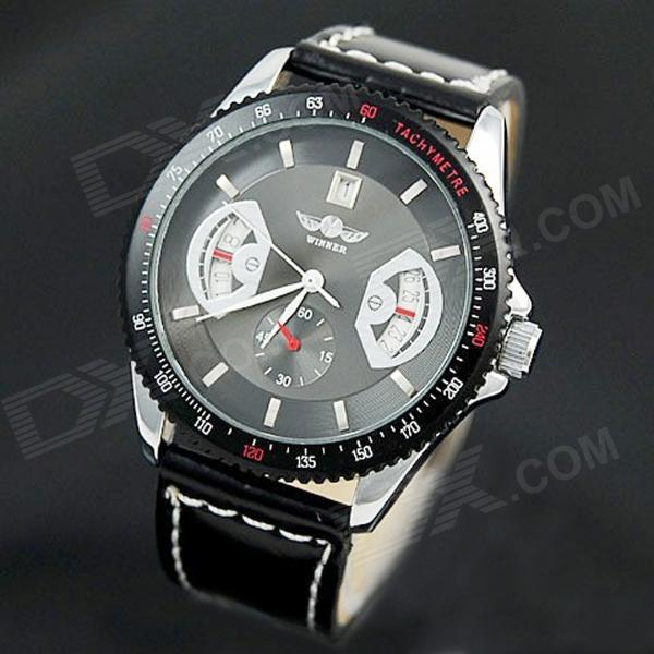 Self-Winding Mechanical Wrist Watch w/ Calendar for Men - Black Dial