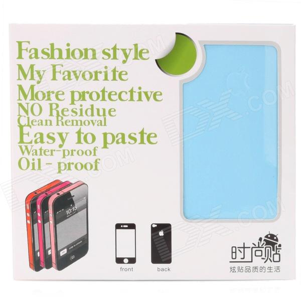 Glossy Front + Back + Frame Stickers Kit for iPhone 4 / 4S - Light Blue