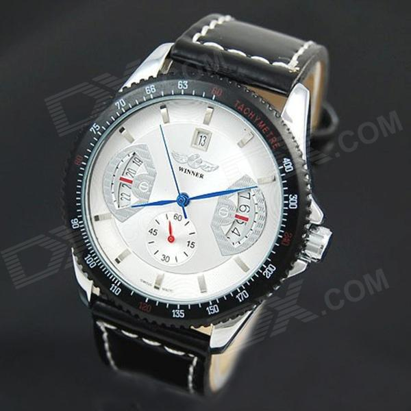 Full-Automatic Mechanical Wrist Watch w/ Calendar for Men - White Dial