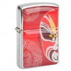 HOLI Beijing Opera Facial Masks Style Stainless Steel Fuel Lighter - Red