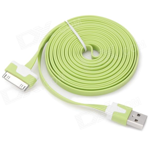 Flat USB Male Data Cable for iPhone 3G / 3GS / 4 / 4S - Green (3m)