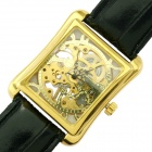 Rectangle Hand Winder Skeleton Mechanical Wrist Watch for Men - Golden + Black