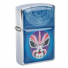 HOLI Beijing Opera Facial Masks Style Stainless Steel Fuel Lighter - Blue