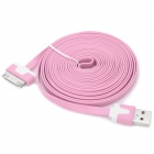 Flat USB Male Data Cable for iPhone 3G / 3GS / 4 / 4S - Pink (3m)