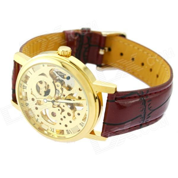 PU Leather Band Hand Winder Skeleton Mechanical Wrist Watch for Men - Golden