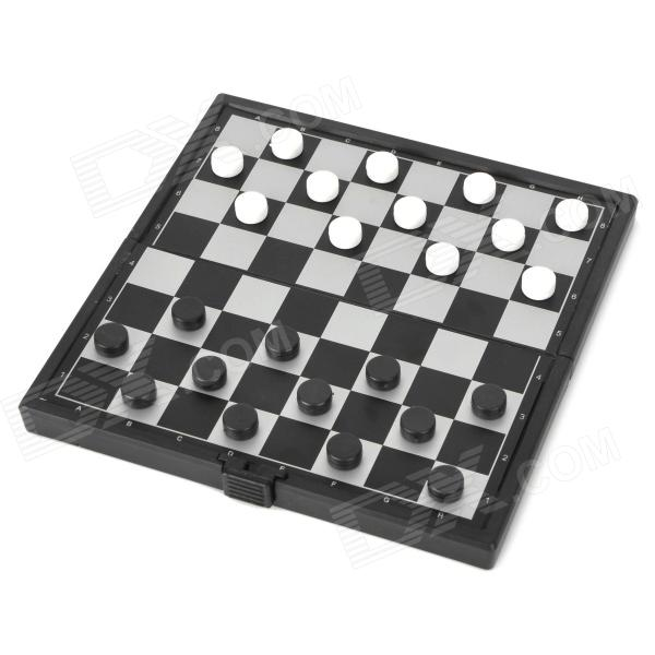 Travel Portable Folding Magnetic Checkers Set - White + Black