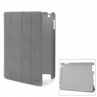 ROCK Protective Leather Case w/ Intelligent Awakening and Sleeping Function for the New iPad - Grey