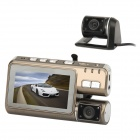 "i1000L 3.0"" TFT 3.0MP Wide Angle Dual Lens Car DVR Camcorder w/ 4-LED IR Night Vision - Coffee"