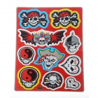 Various Skull Heads Style Car / Motorcycle Sticker Set - Red + Black + White (2 PCS)