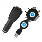 Car Cigarette Powered Adapter Charger w/ 6-in-1 Charging Adapter for iPhone / Cell Phone - Black