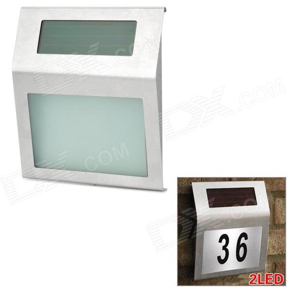 Wireless Solar Power Charged 2-LED Stainless Steel House Address Number Sign - Silver (1 x AAA) от DX.com INT