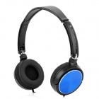 H1207003(EX-08) Headphone for Smart Phone / Computer - Black + Blue (3.5mm / 120cm)
