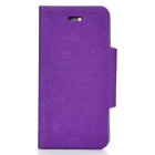 Protective PU Leather Case for iPhone 5 - Purple
