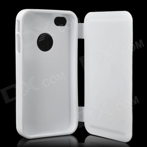 Protective Flip Open Soft Plastic Case for Iphone 4 / 4S - White protective flip open soft plastic case for iphone 4 4s light grey
