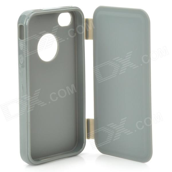Protective Flip Open Soft Plastic Case for Iphone 4 / 4S - Light Grey protective flip open soft plastic case for iphone 4 4s light grey
