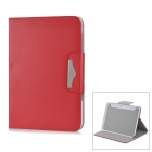 Lychee Pattern Protective PU Leather Case for Samsung Galaxy Note N8000 - Red + Silver