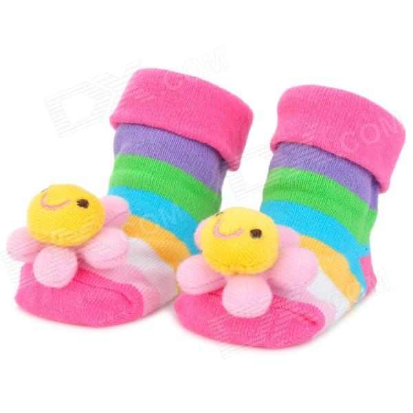 Cute Sunflower Pattern Baby Non-Slip Socks - Deep Pink (1 Pair)