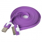 USB Male to Apple 30 Pin Male Flat Data / Charging Cable - Purple (300cm)