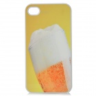 Beer Cup Pattern Protective Hard Plastic Back Case for Iphone4 / 4S - White + Yellow