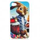COOYA K-23 Drum Rabbit Protective PC Back Case w/ Screen Guard for iPhone 4 / 4S - Blue + Brown