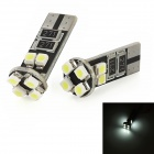 T10 2.2W 200lm 8x5050 SMD LED White Light Decode Car Door / Tail Lamps (2 PCS)