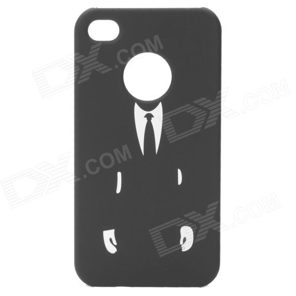 Man Figure Protective Matte Hard PC Back Case for iPhone 4 / 4S - Black + White