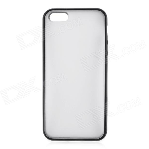 Protective  Silicone Frame + Plastic Back Cover Case for Iphone 5 - Translucent + Black protective silicone case for nds lite translucent white