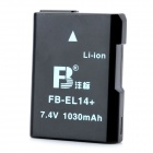 Replacement FB-EL14+ 1030mAh 7.4V Li-ion Battery for Nikon D3100/ D5100 / P7000 / P7100 - Black