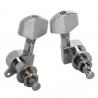 Closed Type Large Square-head Folk / Electric Guitar String Tuning Pegs - Silver (2 PCS)