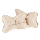 Stylish Vehicle Car Seat Head Neck Rest Cushion Pillow - Beige (Pair)